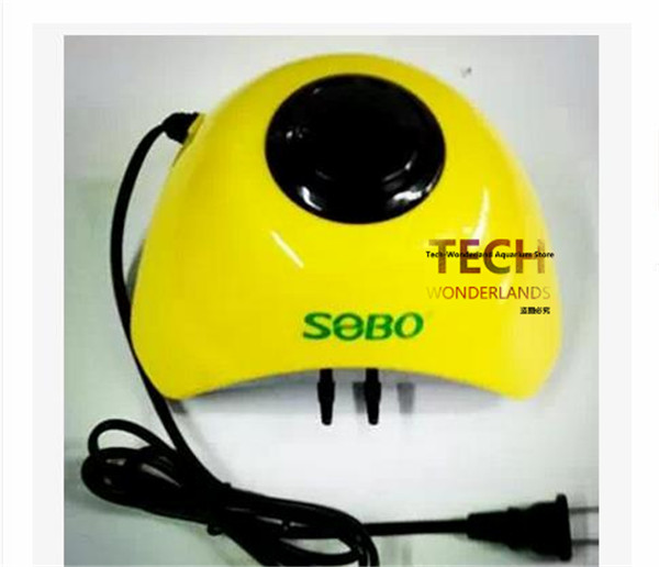 Aquarium cool air pump ultra silent fish tank increase oxygen Pump 2 Outlet adjustable flow SOBO SB-860A yellow free shipping