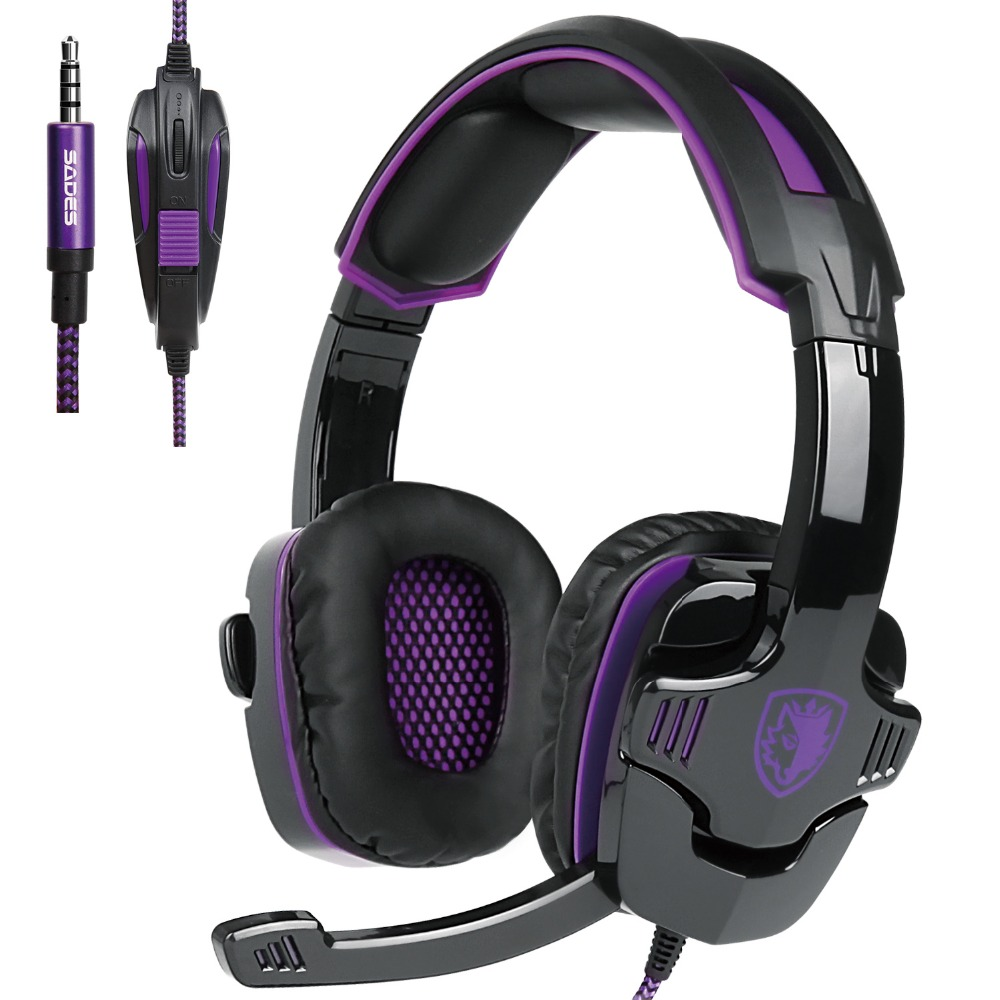 Original Sades SA-930 Headphones Game Headset Stereo Sound 3.5mm Computer Earphone Gaming with Microphone for PC Smart Phones