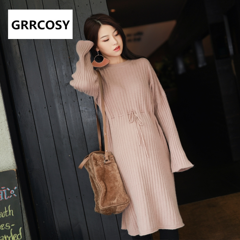 GRRCOSY Maternity Sweater Dress Autumn Winter Clothes Knit Dress Drawstring Pregnant Women Sweater Loose Cloth u back striped knit dress