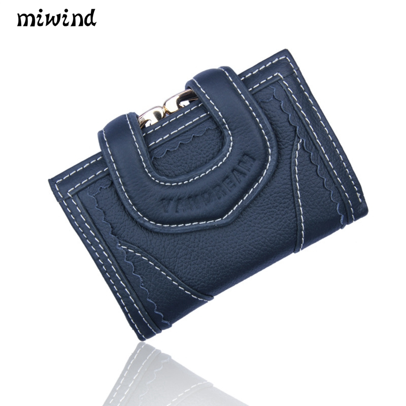 Women s Genuine Leather MIWIND2017 new well known brand ladies cowhide wallet high quality fashion multi