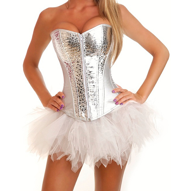 251a627087e Silver PVC Zipper Corselet Corset Sexy White Tutu Skirt Women Bustier  Burlesque Dress Club Wear Gothic Corsets And Bustiers Set-in Bustiers    Corsets from ...