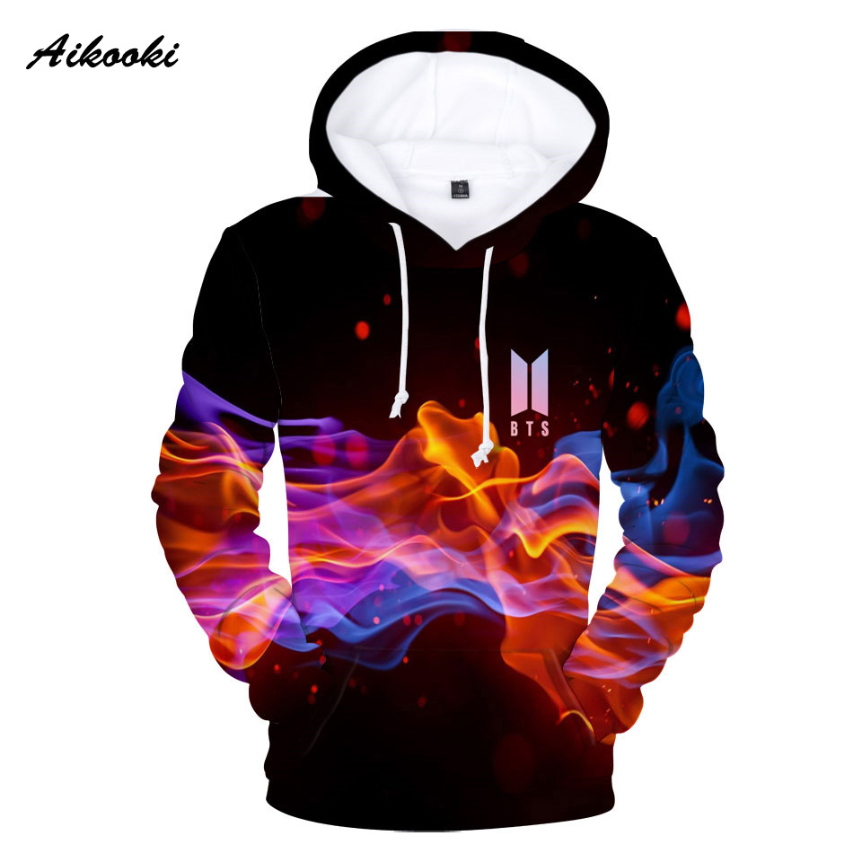 2018 3D Print BTS Kpop Hoodies Men Womens Casual Sweatshirts 3D Hoodies BTS Mens Hooded Sweatshirts Women Polluver Tops Hoody