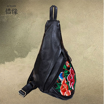 XIYUAN BRAND Ethnic style original design female women big Retro cow Genuine Leather Embroidery flap Shoulder Crossbody Bags xiyuan brand ladies beautiful and high grade imports pu leather national floral embroidery shoulder crossbody bags for women