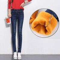 Nonis Women Warm Velvet Skinny Jeans 2017 New Winter Thicke Jeans Female Denim Pants Boyfriend Jeans