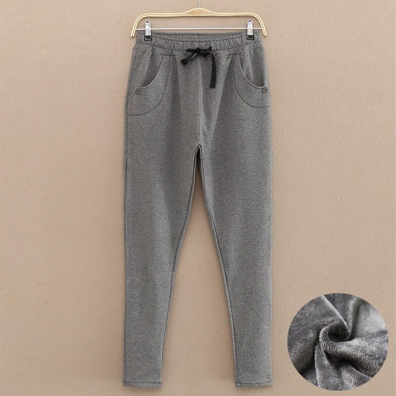 650d03f3e264 Winter Women s Thick Velvet Gray Pants Women Thermal Warm Cotton Sweatpants  High Waist Female Lady High Quality Drawstring Pants