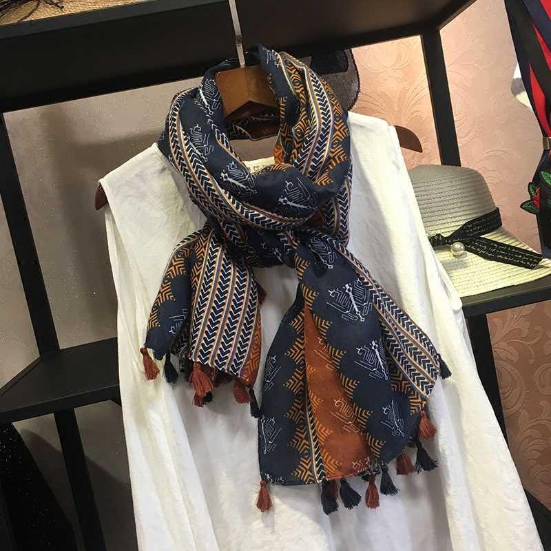 Marte & Joven Retro Geometric Printing Syal Syal Hangat untuk Wanita Mode Jumbai Coklat Panjang Wanita Musim Semi Musim Gugur Pashmina Wraps
