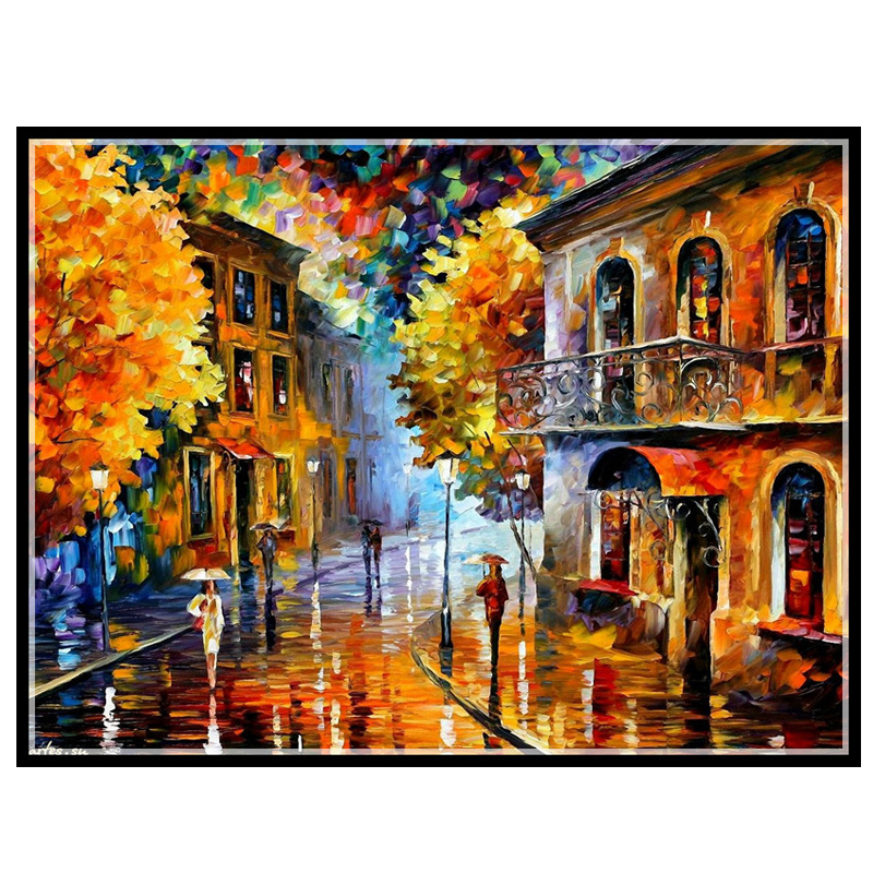 Needlework,DIY14CT unprinted Cross stitch Embroidery The rain city home arts Counted White canvas Cross-Stitching embroidery cross-stitch