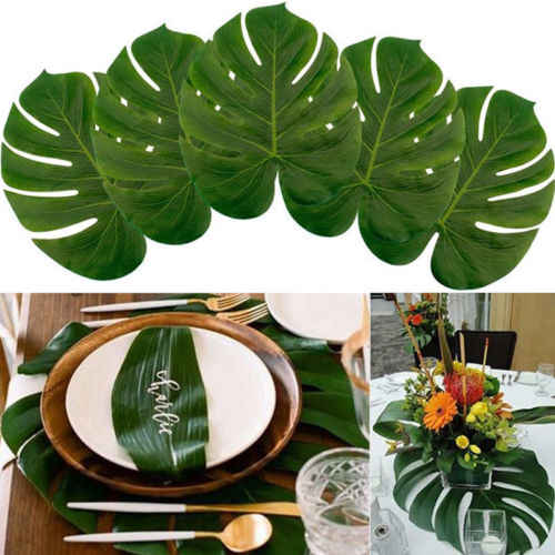 12PCS Big Artificial Tropical Palm Leaves for Hawaii Luau Party Decorations Beach Theme Wedding Table Home garden decor