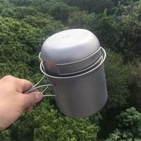 Single use through the version of Esman lightweight titanium combination 2 piece set pot titanium pot titanium bowl combination