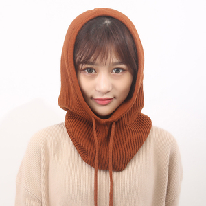 Image 4 - Women Hooded Scarf Female Winter Hats For Women Cashmere 2018 New Fashion Autumn Wool Knitted Warm Wraps Solid Crochet Scarves