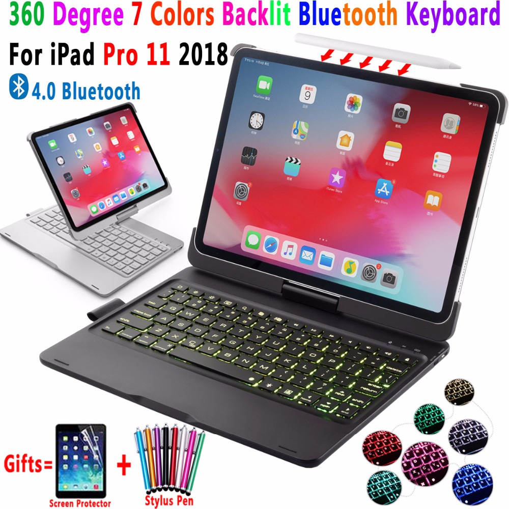 360Degree Rotating 7Colors Backlit Wireless 4 0 Bluetooth Keyboard Cover for Apple iPad Pro 11 2018
