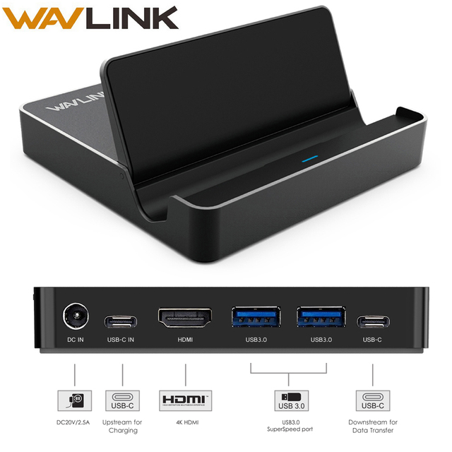 Wavlink Aluminum USB 3.0 Mini Docking Station USB 3.1 Gen 2 Type C Display 50W with Power Delivery 4K@30Hz HDMI For phone laptop
