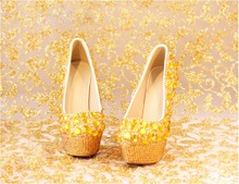 2016 Sping Autumn Gold Rhinestones Women Wedding Shoes High Heel Round Toes Slip -on PU Platform Party Shoes 09wx