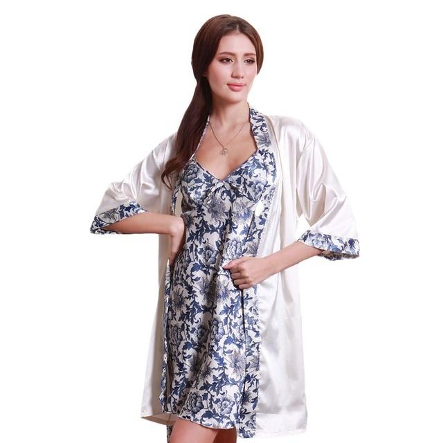 Robe Sets 2 pcs/set Summer Dress Casual Nightwear Hot Women Nightgown