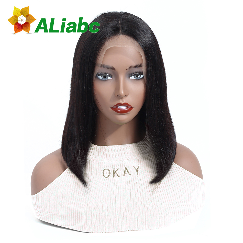 Aliabc 13 4 Short Lace Front Bob Wigs Brazilian Straight Remy Natural Color Lace Front Wigs