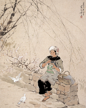 scenery canvas prints  modern Chinese artist masterpiece poster figurative picture China landscape woman and pegeon