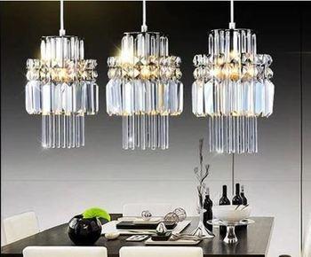 Restaurant light modern minimalist dining chandelier European style dining room lamp Three LED crystal chandelier bar lamp