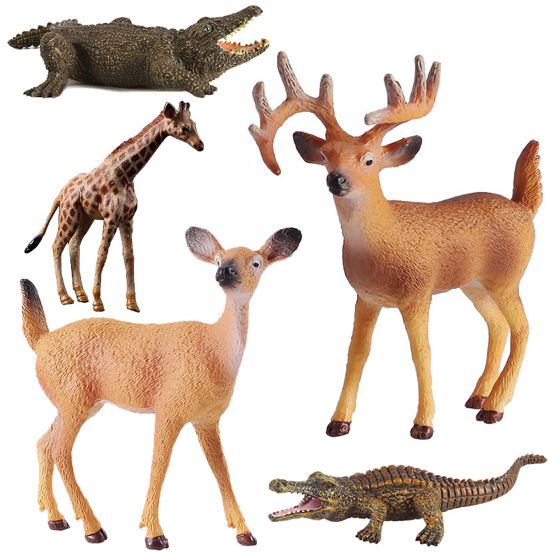 Simulation Deer Crocodile Giraffe Animal model plastic figurine home decor figure miniature fairy garden decoration accessories