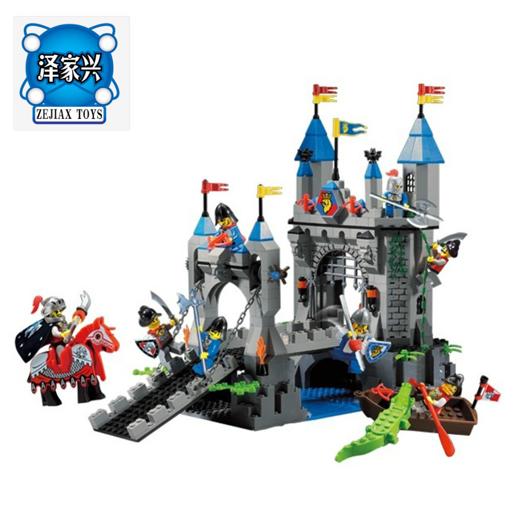 Enlighten Building Block Castle Knights Lion Castle Drawbridge 8 Figures 546pcs Educational Brick Toy Boy Gift Compatible Lepins enlighten new 2315 656pcs war of glory castle knights the sliver hawk castle 6 figures building block brick toys for children