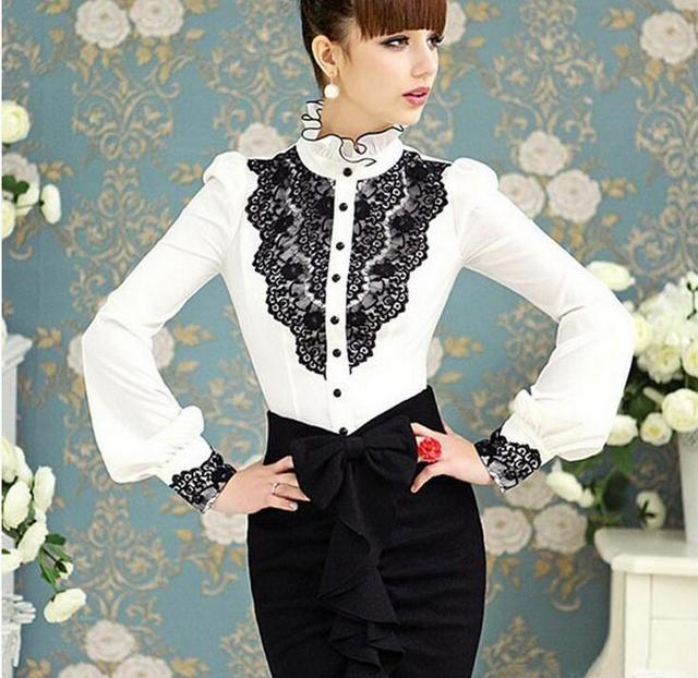 2016 New Elegant Lace Patchwork Women Blouses Vintage Ruffled Winter Shirt Brand Women Clothing Blusas