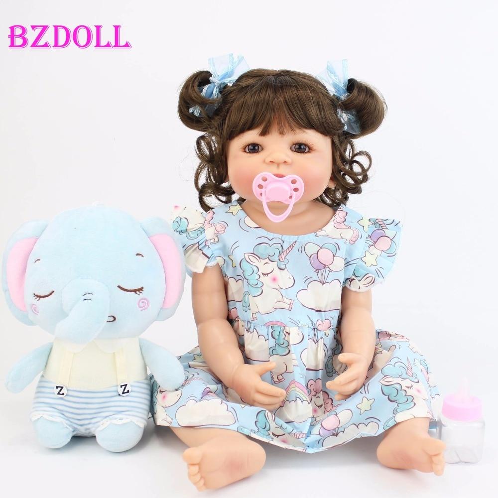 55cm Full Silicone Vinyl Body Reborn Doll Bebe Toy For Girl Bonecas Newborn Princess Babies Bathe