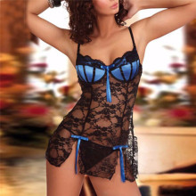 Women's Shell Bra Sheer Lace Babydoll Lingerie