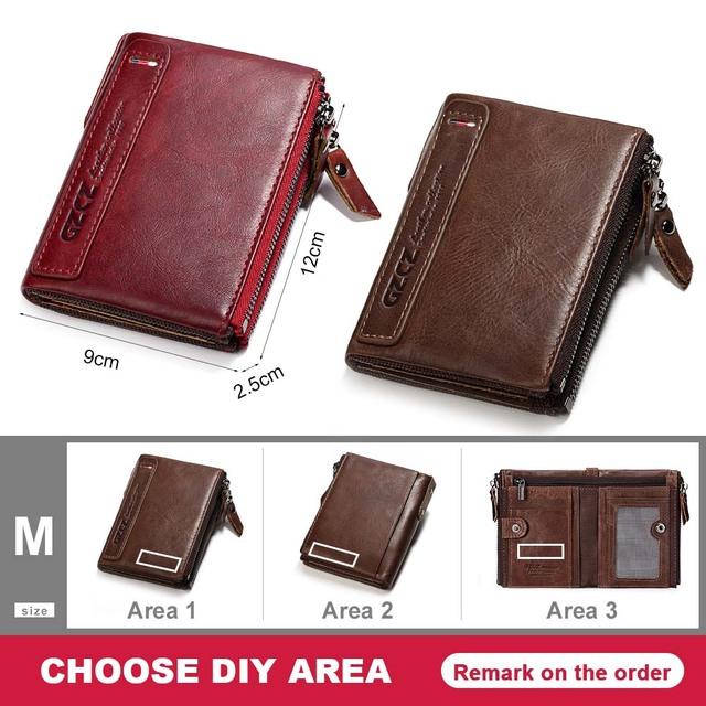GZCZ Billetera nuevo Original de cuero de los hombres de la carpeta de la cremallera del monedero de las carteras cortas del hombre clásico de la tarjeta de poult carteira masculina personalizada
