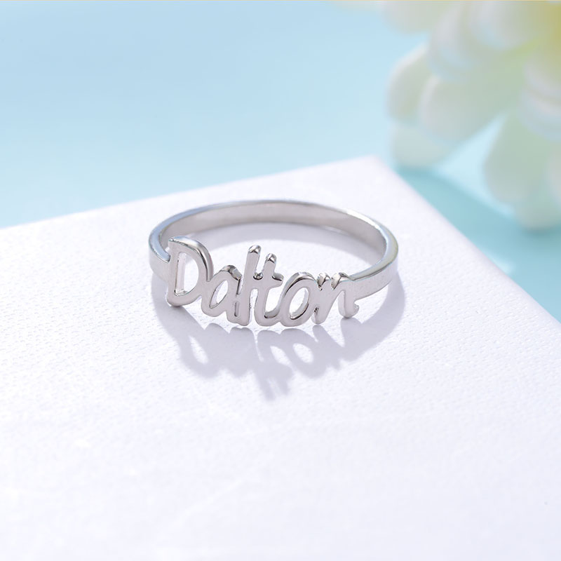 Gold color Name Ring Unique Design Fashion Ring for Women Hot Sale Custom Name Rings Popular Personalized Initial Rings in 2018 hot sale 1000ml roland mimaki mutoh textile pigment ink in bottle color lc for sale