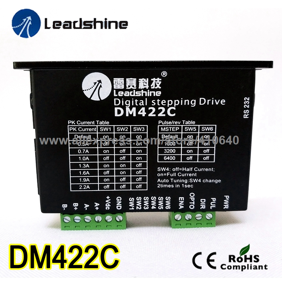 Step motor drive from famous brand Leadshine model DM422C 2 Phase Digital Stepper Drive Max 40 VDC and 2.2 A quick delivery ! 2pcs lot leadshine 2 phase high precision stepper drive am882