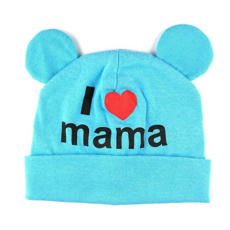 Bnaturalwell Bébé coton Bonnet Enfant Calotte Mignon J aime Mama Bonnets  Hiver Chapeau Nouveau Né Calotte En Tricot tissu H042D dans Chapeaux et  Casquettes ... 1e2166f6f89