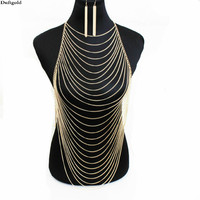 Women Exaggeratedd Sexy Women Gold Silver Body Chain Full Bar Belly Chain Necklace Earring New Fashion