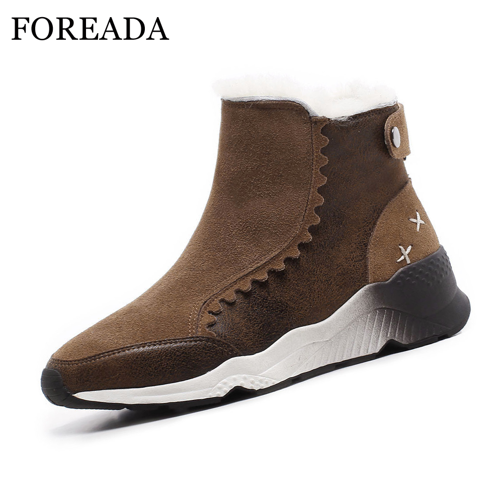 FOREADA Snow Boots Women Winter Flat Platform Ankle Boots Plush Round Toe Short Boots Warm Leisure Female Sneakers Shoes Black best selling top quality women hidden wedge winter warm snow boots plush inside platform round toe motorcycle boots shoes