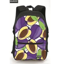 Новые марка дизайн свежий 3D фрукты корки женщины рюкзаки высокое качество холста mujer путешествия рюкзак прочный кампуса студенты mochila