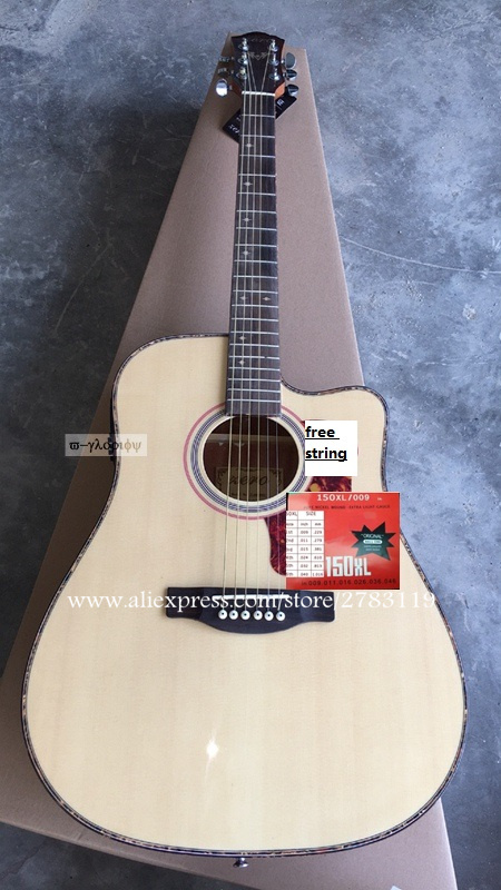 Cutaway Electric guitar 41 inch guitar acoustic guitar With Spruce top /Mahogany Body + Hard case,chinese guitarras  free shipping top quality solid spruce top j 185ec acoustic guitar natural wooden acoustic guitar