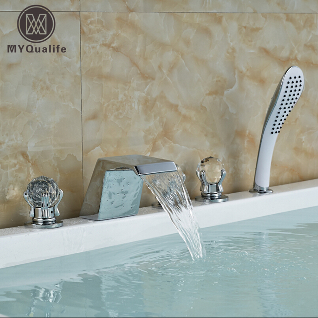 Chrome Finish 5 Pcs Waterfall Bathtub Tub Mixer Tap Bathroom Mixer ...