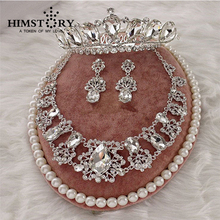 Bridal Luxurious Waterdrop Silver Diamante Crystal Bride 3pcs Set Necklace Earrings Crown Tiara Wedding Jewelry Set red crystal pearls bride wedding jewelry sets tiaras necklace earrings 3pcs set women party prom pearl hair jewelry ornament set
