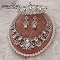 Nupcial de Lujo Waterdrop Plata Diamante Crystal Novia 3 unids Conjunto Collar Pendientes Crown Tiara Joyería de la Boda