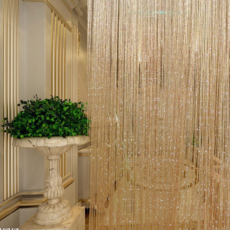 Shiny Tassel Flash Silver Line String Curtain Window Door Hanging Divider Sheer Curtains For Living Room Bedroom #E