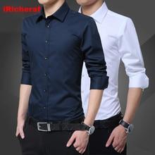 iRicheraf 2019 Mens Dress Shirts Maxi Size 5XL Men Shirt Long Sleeve Solid Formal White Pink Blue Top Quality Non-ironing