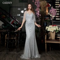 Luxury Gery Mermaid Evening Dresses Short Sleeve Beading Crystal Sparkly Evening Gown 2018 Real Photo CAZDZY With Jacket