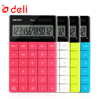 Deli electronic calculator office 12 digits battery and solar two power supply calculator school stationery desk office supplies