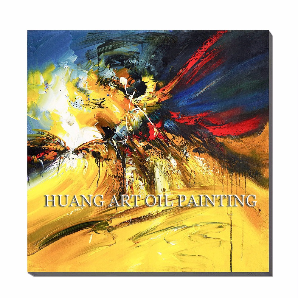 Skill Painter Paint Yellow Abstract Wall Art Paintings Handmade ...
