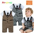 [Lucky& Lucky] gentleman baby boys clothing baby rompers with tie