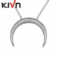 KIVN Fashion Jewelry Pave CZ Cubic Zirconia Womens Girls Cute Horn Wedding Pendant Necklaces Christmas Birthday