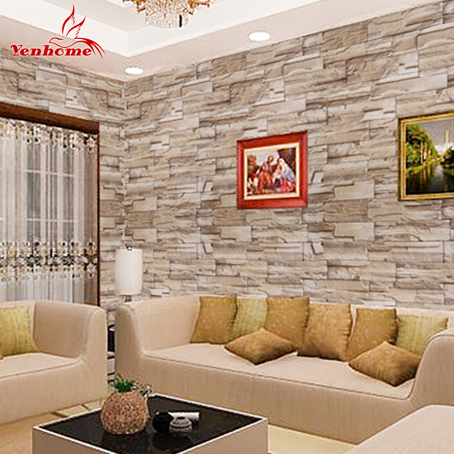 5m self adhesive wall paper roll for wall rustic kitchen for Living room 3d tiles
