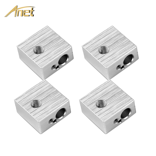 4PCS Aluminum Heater Block M6 Specialized for MK7 MK8 Makerbot 3D Printer Extruder 3D Printer Parts For Anet A6 A8 3d orinter