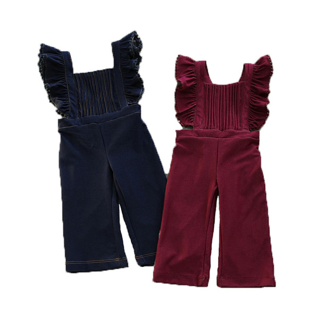 c3fc496f9 Baby Girls Jumpsuit Romper Outfit Spring Fall Girl Playsuit Toddler Big  Girl Pleated Romper Children Clothes Kids Denim Overalls