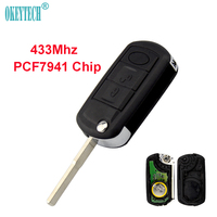 OkeyTech 3 Button 433Mhz Uncut Blade Remote Control Auto Car Key Fob PCF7941 Chip For LAND