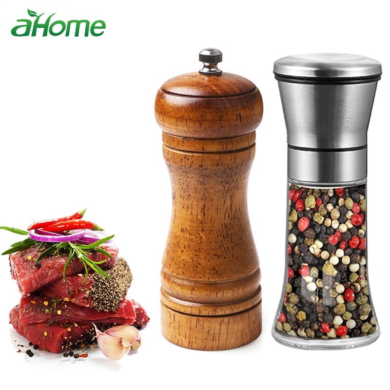 Saliera in legno ABS manuale e pepper Shred Herb Prezzemolo in legno Mulino per pepe in legno con schiuma di ceramica regolabile ...