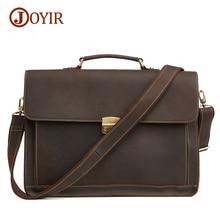 Joyir 2017 men genuine leather briefcases laptop bags men handbags business high quality shoulder messenger bags for men 6393